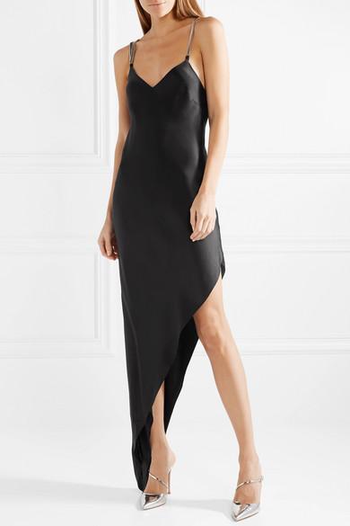 Michelle Mason Asymmetrisches Kleid aus Seiden-Charmeuse mit Kettenverzierung