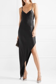 Asymmetric chain-embellished silk-charmeuse dress