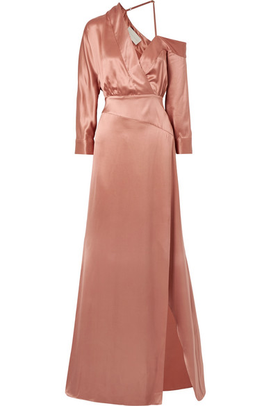 Michelle Mason Schulterfreie Robe aus Seiden-Charmeuse