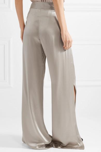 Michelle Mason Hose aus Seiden-Charmeuse mit weitem Bein