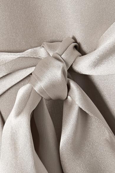 Michelle Mason Morgenmantel aus Seiden-Charmeuse mit Gürtel