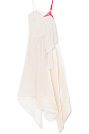 Adelia lace, plissé-crepe and silk-satin midi dress
