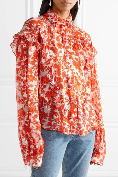 Preen by Thornton Bregazzi Miranda bedruckte Bluse aus Devoré-Chiffon aus einer Seidenmischung mit Rüschen