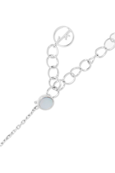 Anissa Kermiche Riviera 18-karat White Gold, Sapphire And Mother-of-pearl Choker