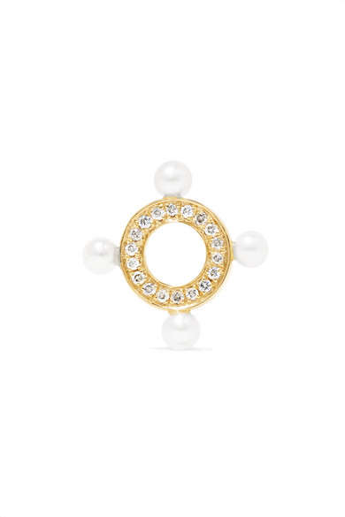 Anissa Kermiche - Quatuor 14-karat Gold, Diamond And Pearl Earring
