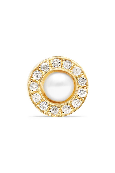 Anissa Kermiche - Solo 14-karat Gold, Diamond And Pearl Earring