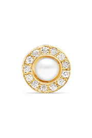 Solo 14-karat gold, diamond and pearl earring
