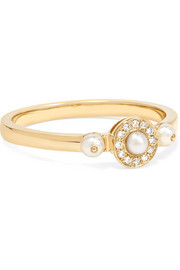 Mignonne 14-karat gold, pearl and diamond ring
