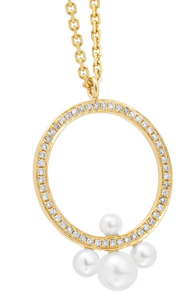 Pompadour 14-karat Gold, Diamond And Pearl Necklace - one size Anissa Kermiche