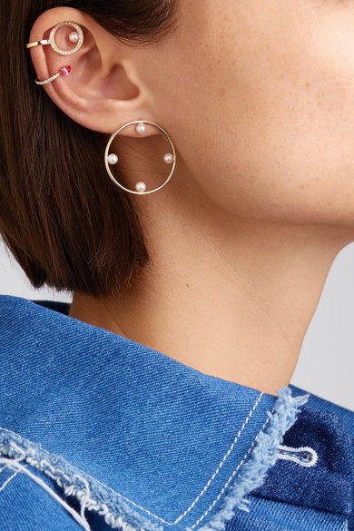 Anissa Kermiche 14-karat Gold, Pearl And Sapphire Ear Cuff