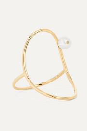 Oval 14-karat gold pearl ring