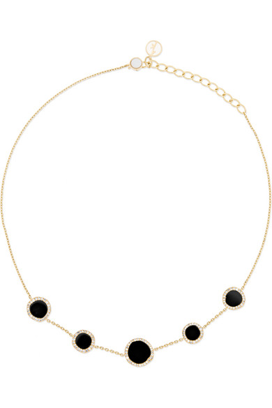 Belle De Nuit 14-karat Gold, Diamond, Onyx And Mother-of-pearl Choker - one size Anissa Kermiche