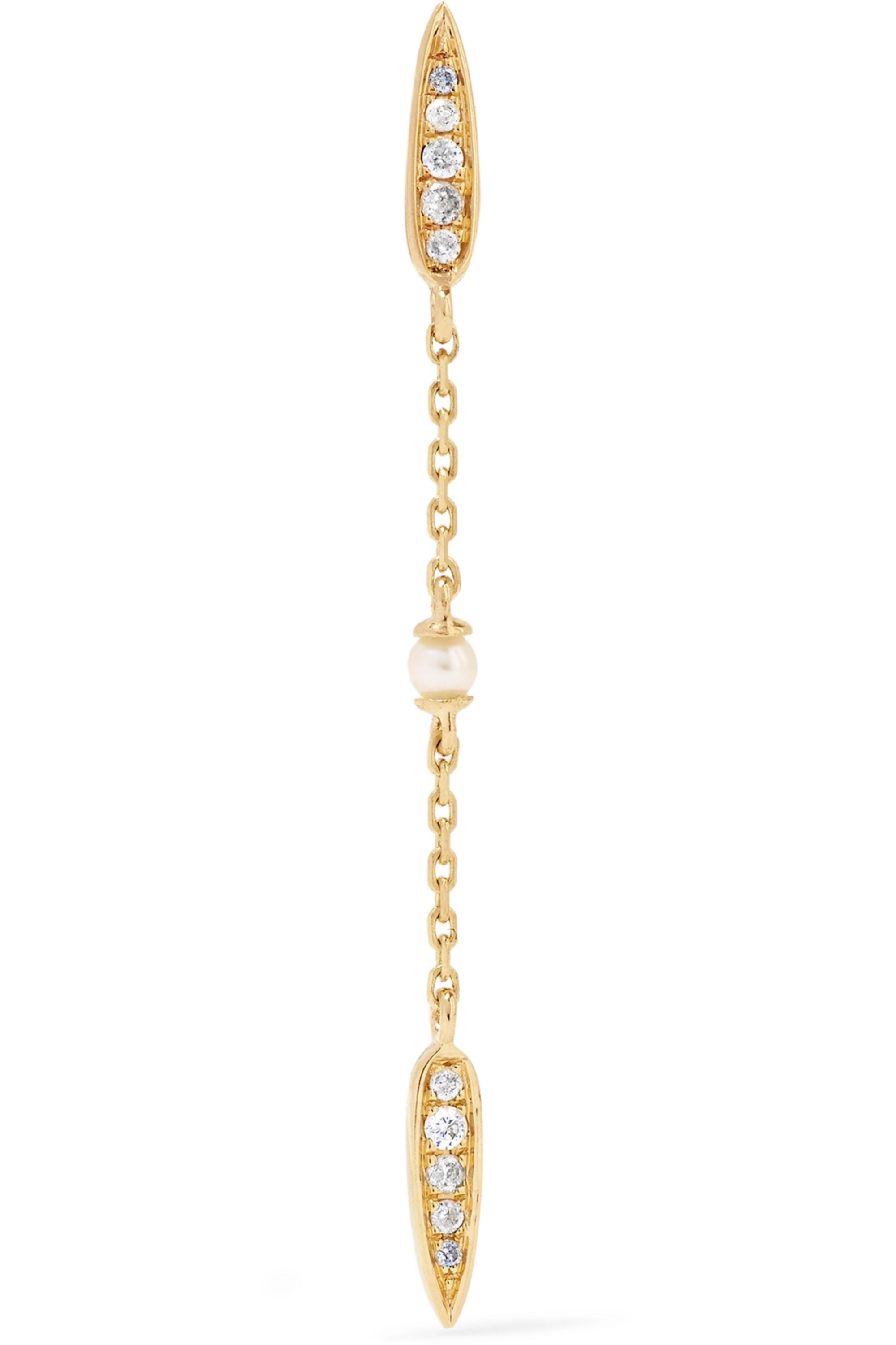 Anissa Kermiche 14-karat gold, diamond and pearl earring