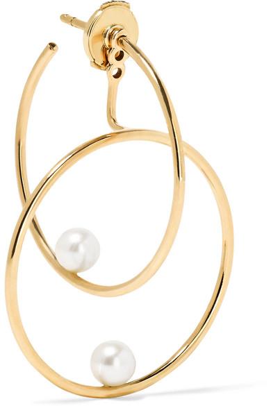 Anissa Kermiche - 14-karat Gold Pearl Hoop Earring