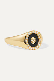 14-karat gold, onyx and diamond ring
