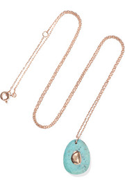 Orso N°2 9-karat rose gold, turquoise and diamond necklace
