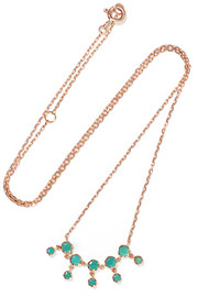 Lara N°1 9-karat rose gold and turquoise necklace