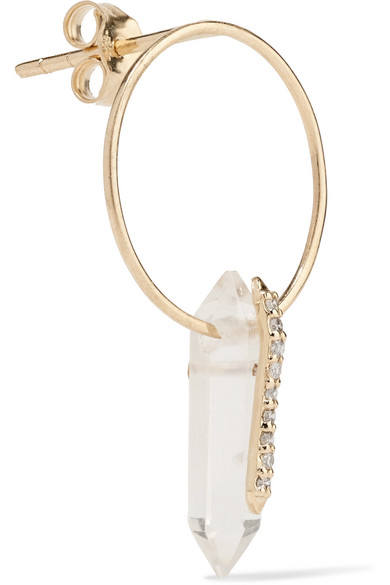 Pascale Monvoisin Moon 9-karat Gold, Crystal And Diamond Earring