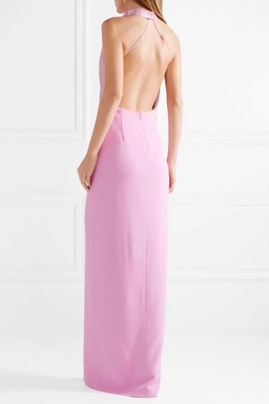 Pintucked Crepe Halterneck Gown - Baby pink Brandon Maxwell 9DBLjL1UJ