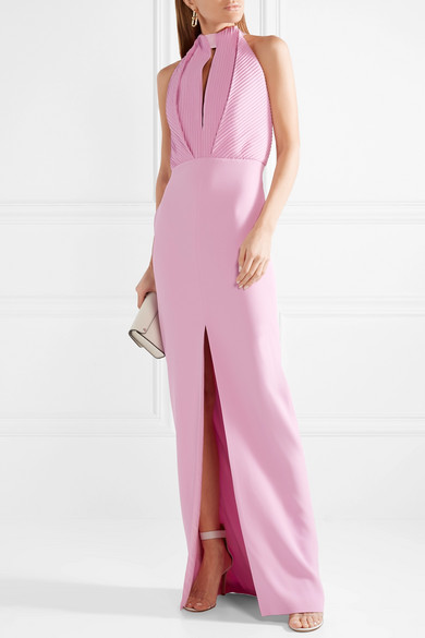 Pintucked Crepe Halterneck Gown - Baby pink Brandon Maxwell CeXtb