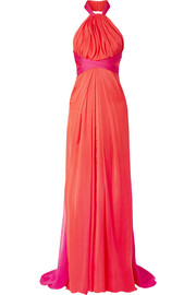 Gathered two-tone silk-chiffon halterneck gown
