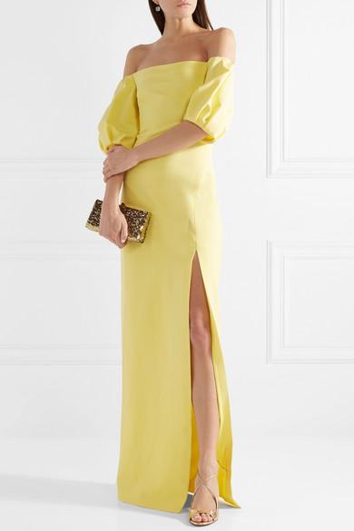 Reina Off-the-shoulder Stretch-crepe Gown - Pastel yellow Cushnie et Ochs cWf3egT
