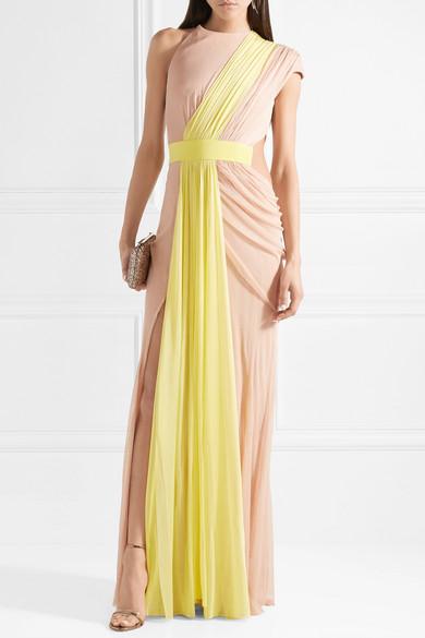 Cushnie et Ochs Robe aus zweifarbigem drapiertem Seidentüll mit asymmetrischer Schulterpartie
