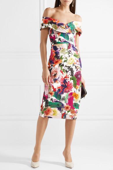 Cushnie et Ochs Alba schulterfreies Kleid aus floral bedrucktem Stretch-Cady