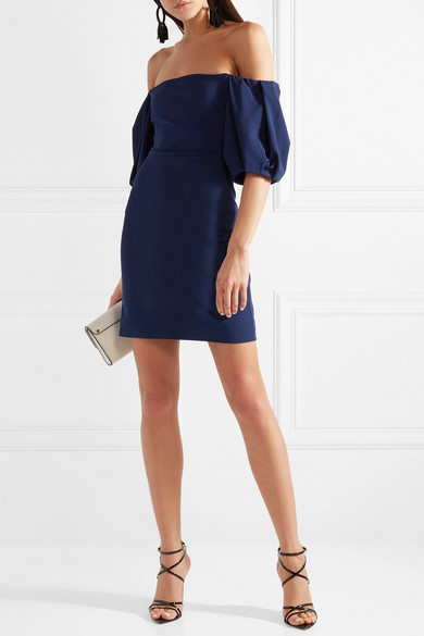 Silvia Off-the-shoulder Stretch-ponte Mini Dress - Navy Cushnie et Ochs Discount High Quality KpVZ6QF