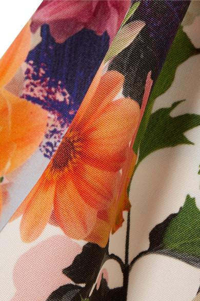 Cushnie et Ochs Carlita verkürztes Oberteil aus Cady mit floralem Print und schulterfreiem Ausschnitt