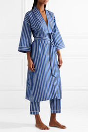 Sadie striped cotton robe
