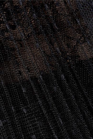 Marchesa Notte Robe aus gestuftem Tüll mit Point d'Esprit und Spitze