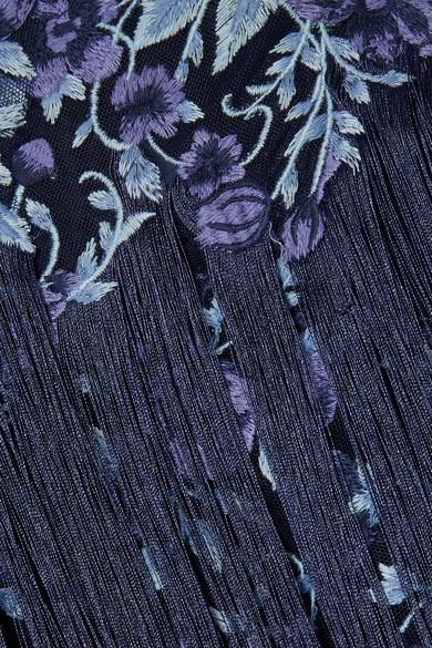Marchesa Notte Robe aus besticktem Tüll mit Fransen
