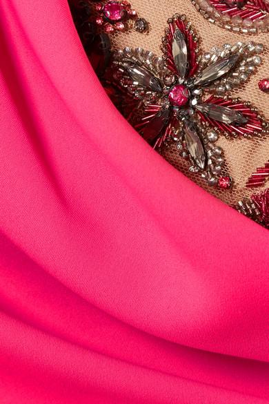 Marchesa Notte Robe aus Crêpe mit Tülleinsatz und asymmetrischer Schulterpartie