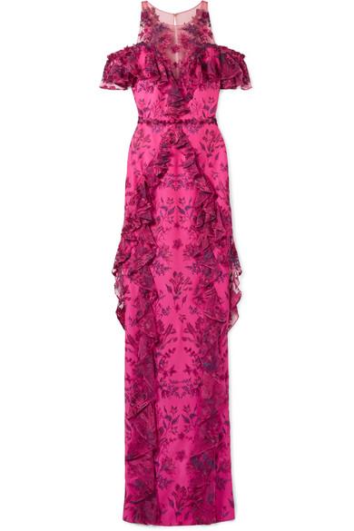 Marchesa Notte Bestickte Robe aus Tüll und Ponte mit Rüschen und Schulter-Cut-outs