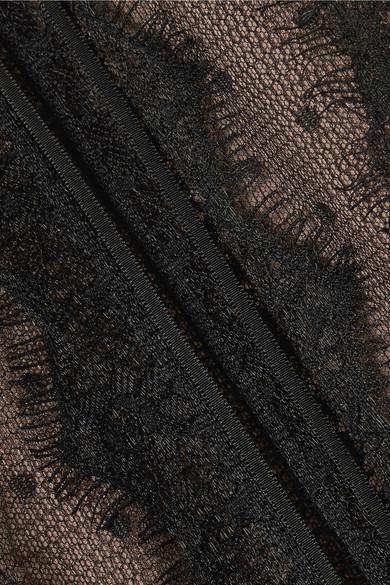 Marchesa Notte Schulterfreies Midikleid aus Tüll mit Point d'Esprit und Spitzenbesätzen