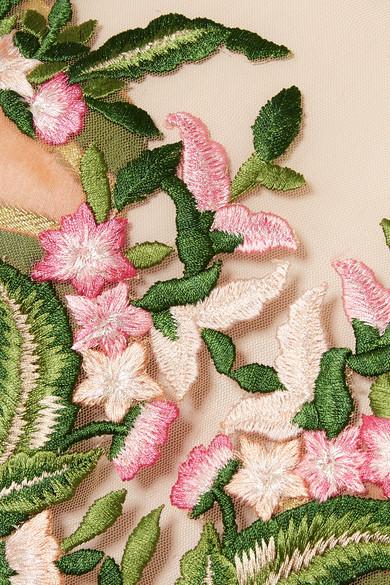 Reem Acra Robe aus Brokat und Tüll mit Stickerei