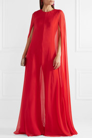 Cape-effect silk-chiffon jumpsuit