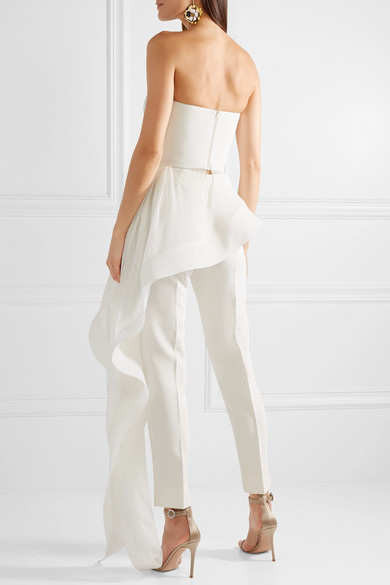 Clearance Fashionable Asymmetric Silk-crepe And Chiffon Bustier Top - White Reem Acra Cheap Sale Looking For Free Shipping Visit New Sale Discount Shop Offer uVosvsXYaB