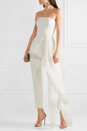 Reem Acra Asymmetric silk-crepe and chiffon bustier top