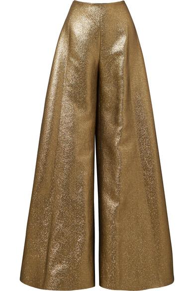 Reem Acra Hose mit weitem Bein aus Lamé aus einer Baumwollmischung
