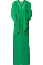 Middanna draped plissé-chiffon maxi dress