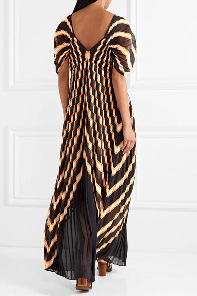 Alvima Pleated Striped Chiffon Maxi Dress - Black By Malene Birger u3oaGwJ