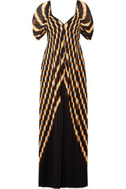 Alvima pleated striped chiffon maxi dress