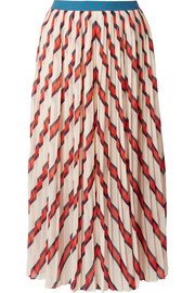 Alvilamma pleated striped chiffon midi skirt