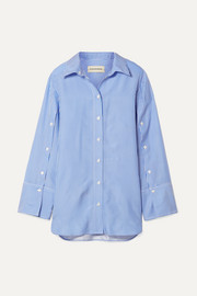 Nadeonso striped satin-twill shirt