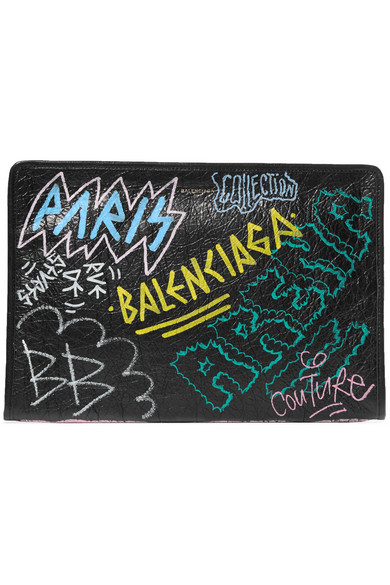 Bazar Printed Textured-Leather Pouch, Black