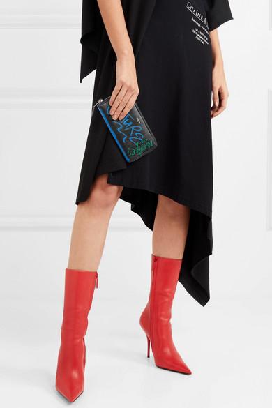 Balenciaga Bazar bedrucktes Portemonnaie aus strukturiertem Leder