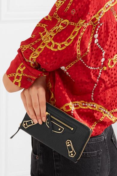 Balenciaga Metallic Edge Portemonnaie im europäischen Stil aus strukturiertem Leder
