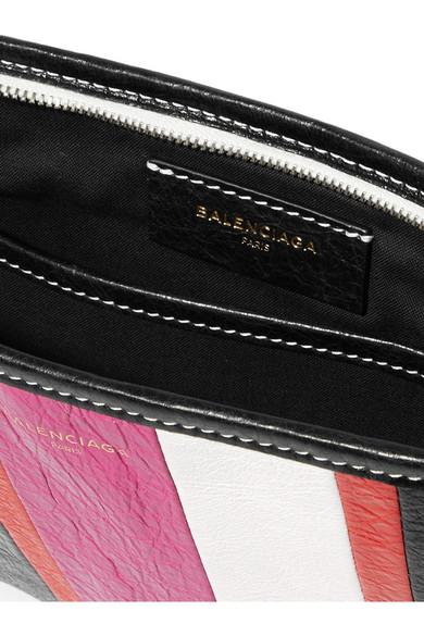 Balenciaga Bazar gestreifter Beutel aus strukturiertem Leder